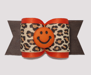 "#A7617 - 7/8"" Dog Bow - Leopard Print/Orange, Cute Smiley Face"