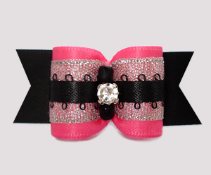 "#A7619 - 7/8"" Dog Bow - Gorgeous Pink/Silver/Black w/Rhinestone"