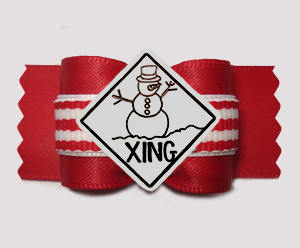 "#A7621- 7/8"" Dog Bow- Snowman Crossing, Winter Red/White Stripes"
