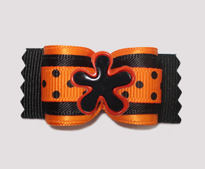 "#A7622 - 7/8"" Dog Bow - Fun Fall Flower, Orange/Black w/Dots"