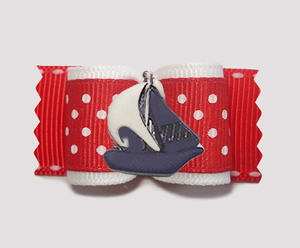 "#A7623 - 7/8"" Dog Bow - Nautical Dots, Red/White, Navy Sailboat"