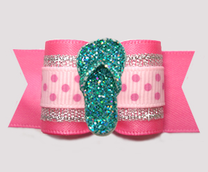 "#A7625 - 7/8"" Dog Bow- Beach Baby Bling, Glitter Flip Flop"