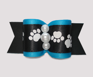 "#A7629 - 7/8"" Dog Bow - Puppy Paws on Blue/Black Satin"