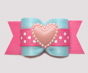 "#A7630 - 7/8"" Dog Bow - Sweet Heart Cotton Candy, Blue/Pink"