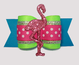 "#A7631 - 7/8"" Dog Bow - Beautiful Brights w/Sparkle, Flamingo"