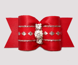 "#A7633 - 7/8"" Dog Bow - Classic Red, Silver Accents, Rhinestones"