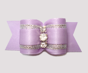 #A7635- 7/8 Dog Bow- Lovely Lavender Satin w/Silver, Rhinestones