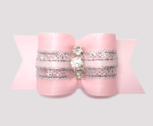 #A7636- 7/8 Dog Bow- Gorgeous Pink Princess Sparkle, Rhinestones