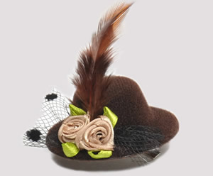 #TTD04 - Tiny Topper Dog Hat, Deluxe - Chocolate Brown