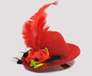 #TTD07 - Tiny Topper Dog Hat, Deluxe - Classic Red