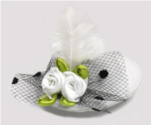 #TTD09 - Tiny Topper Dog Hat, Deluxe - Wedding White