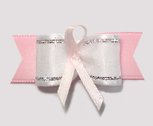 "#AB8008 - 5/8"" Dog Bow - Pink Awareness Ribbon"