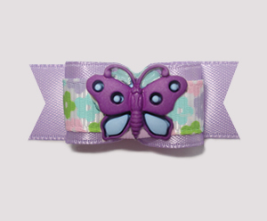 "#1837B - 5/8"" Dog Bow - Little Flowers & Butterfly"