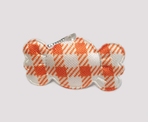 #BAR01075O - Dog Barrette - Sweet Gingham Candy, Orange
