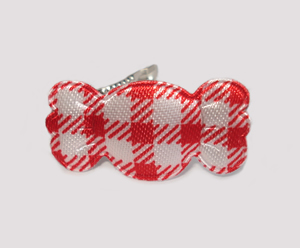 #BAR01074R - Dog Barrette - Sweet Gingham Candy, Red