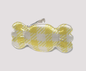 #BAR01073Y - Dog Barrette - Sweet Gingham Candy, Yellow