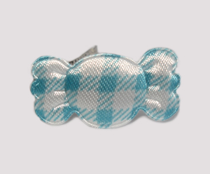#BAR01072B - Dog Barrette - Sweet Gingham Candy, Blue