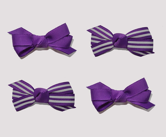 #BAR01086- 4 Dog Bows with Barrettes- Cute Purple, White Stripes