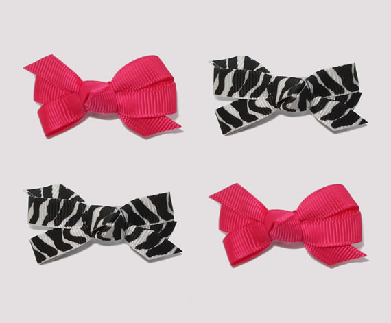 #BAR01091 - 4 Dog Bows with Barrettes - Zebra and Hot Pink