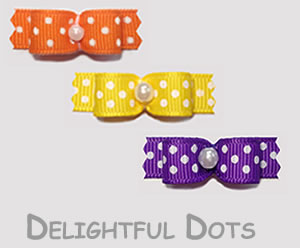 "ZBB055 - 3/8"" Dog Bows - Bargain Basement, Delightful Dots Trio"