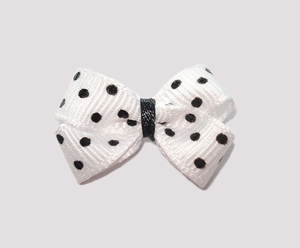 #BBTQ100 - Baby Boutique Dog Bow - Classic White w/Black Dots