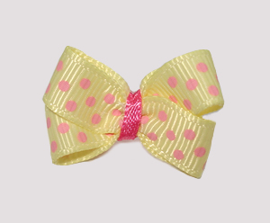 #BBTQ630 - Baby Boutique Dog Bow - Baby Yellow with Pink Dots - Click Image to Close