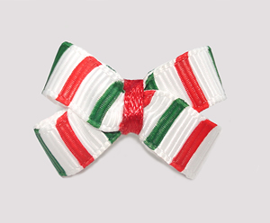 #BBTQ634 - Baby Boutique Dog Bow - Festive Christmas Stripes