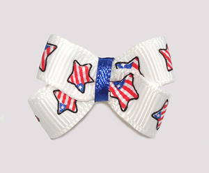 #BBTQ636 - Baby Boutique Dog Bow - Patriotic Stars
