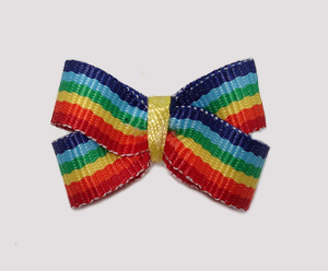#BBTQ655 - Baby Boutique Dog Bow - Bright Rainbow Stripes