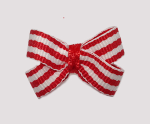#BBTQ665 - Baby Boutique Dog Bow - Classic Red/White Stripes