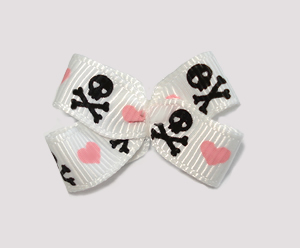 #BBTQ675- Baby Boutique Dog Bow- Skull & Crossbones, Pink Hearts
