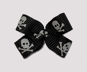#BBTQ680 - Baby Boutique Dog Bow - Skull & Crossbones on Black