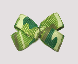 #BBTQ715 - Baby Boutique Dog Bow - Green Camouflage Print