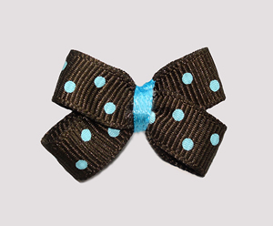 #BBTQ725 - Baby Boutique Dog Bow - Chocolate Brown, Blue Dots