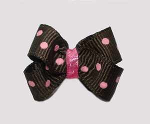 #BBTQ730 - Baby Boutique Dog Bow - Chocolate Brown, Pink Dots