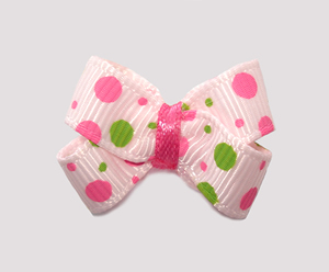#BBTQ735 - Baby Boutique Dog Bow - Pink/Lime Bubble Dots