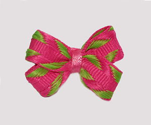 #BBTQ740 - Baby Boutique Dog Bow - Zesty Pink/Lime