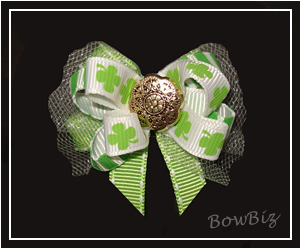 #BTQ005 - Boutique Dog Bow - Lucky Shamrocks