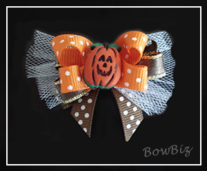 #BTQ030 - Boutique Dog Bow - Jolly Jack O'Lantern