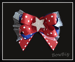 #BTQ050 - Boutique Dog Bow - Patriotic, Star Power