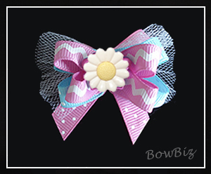 #BTQ105 - Boutique Dog Bow - Princess Pink/Blue w/Daisy