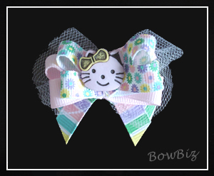#BTQ110 - Boutique Dog Bow - Hello Spring Kitty
