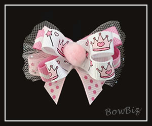 #BTQ115 - Boutique Dog Bow - Pretty Pom Queen