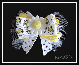 #BTQ130 - Boutique Dog Bow - Daisy Daze, Easter Chicks