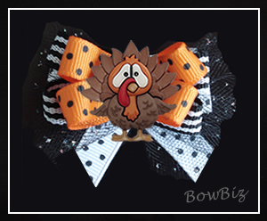 #BTQ250 - Boutique Dog Bow - Terrific Thanksgiving Turkey