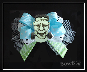 "#BTQ290 - Boutique Dog Bow - ""Frank-ly Cool"" Frankenstein"
