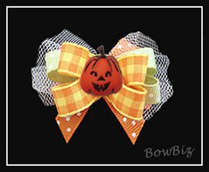 #BTQ300 - Boutique Dog Bow - Autumn Plaid, Happy Pumpkin