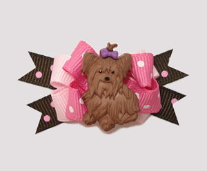 #BTQM007- Mini Boutique Dog Bow Yorkie Love, Pink & Chocolate