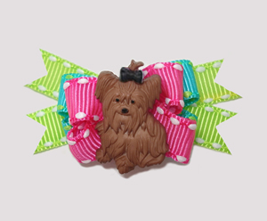 #BTQM008 - Mini Boutique Dog Bow Yorkie Love, Neon Brights