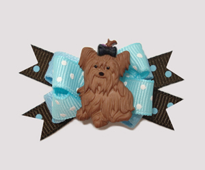 #BTQM009- Mini Boutique Dog Bow Yorkie Love, Blue & Chocolate